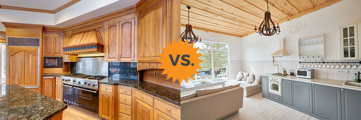 kitchen cabinet refinishing and refacing, before and after look